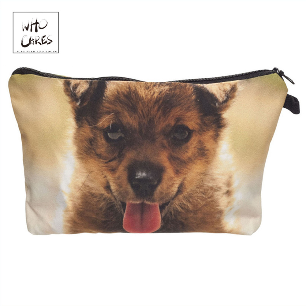 Who Cares Fashion printing Puppy Makeup Bags Cosmetic Organizer Bag Pouchs For Travel