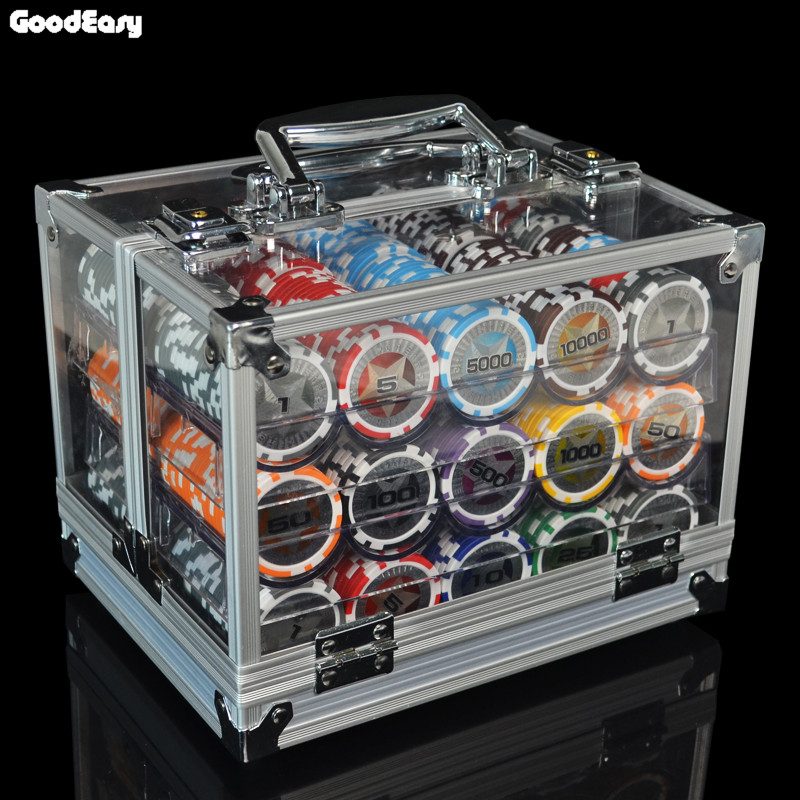 600,1000PCS/Lot New Casino Texas Hold'em ABS Poker Chips With Star Trim Sticker Baccarat Poker Chip Sets with Acrylic Box 600 1000pcs lot new casino texas hold em abs poker chips with star trim sticker baccarat poker chip sets with acrylic box