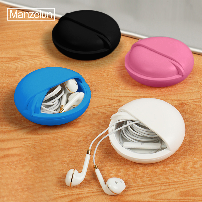 Round Earphone Wire Box Organizer Data Line Cables Storage Case Plastic Container Jewelry Headphone Protect with Rotating Cover(China)