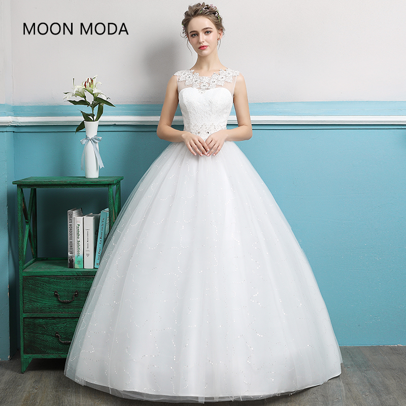 Lace Princess Wedding Dress 2019 Bride Dress Plus Size Ball Gown Muslim Wedding Gown Elegant A Line Vestido De Novia Real Photo
