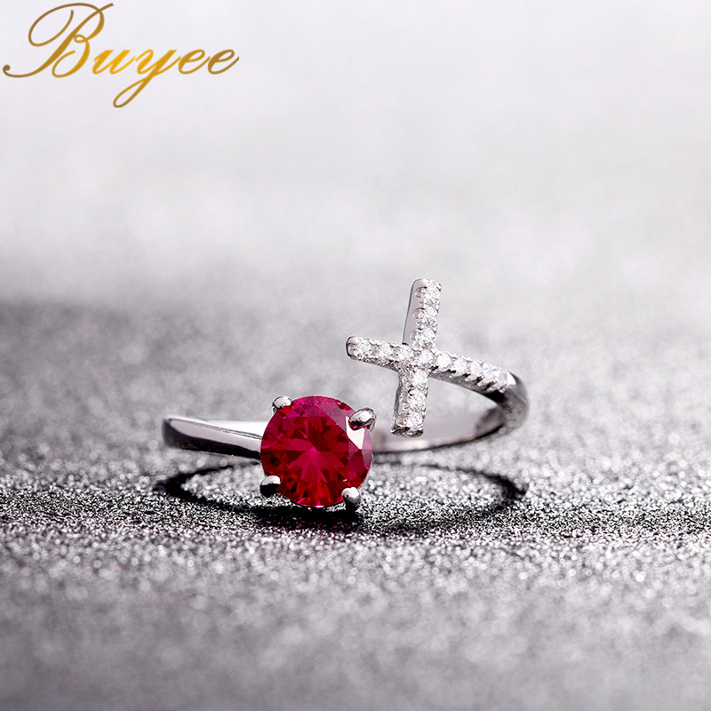 BUYEE Cross Ring 925 Sterling Silver New Fashion Wedding Jewelry Red Corundum Adjustable Finger Open Rings Aneis