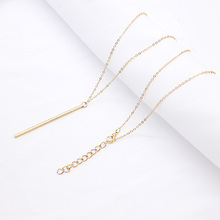 Simple Classic fashion Stick Pendant Necklace Hollow Girl Long Link Chain Square Copper Necklaces long Strip Jewelry for women