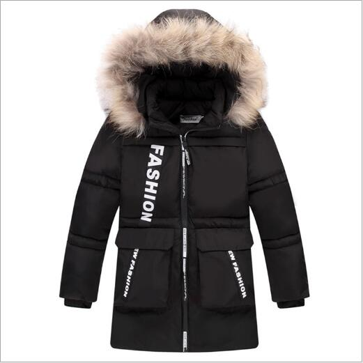2017 New Boys Winter Long Down Jackets Outerwear Coats Fashion Big Fur Collar Thick Warm White Duck Down For 4-10T Children brand 2017 winter children s duck down outerwear coats fur long model warm girl down jackets coats warm baby girl down jacket