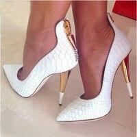 Белые из тисненой кожи Женские туфли лодочки с острым носком Золотой молнии Для женщин обувь на высоком каблуке шпилька Каблучки свадебные