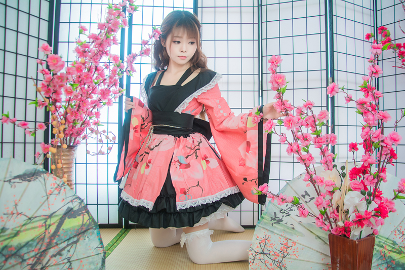 Shanghai histoire coton fleur impression dentelle bord Kimono Yukata robe de chambre Anime Lolita ensembles Meidofuku uniforme tenue - 6