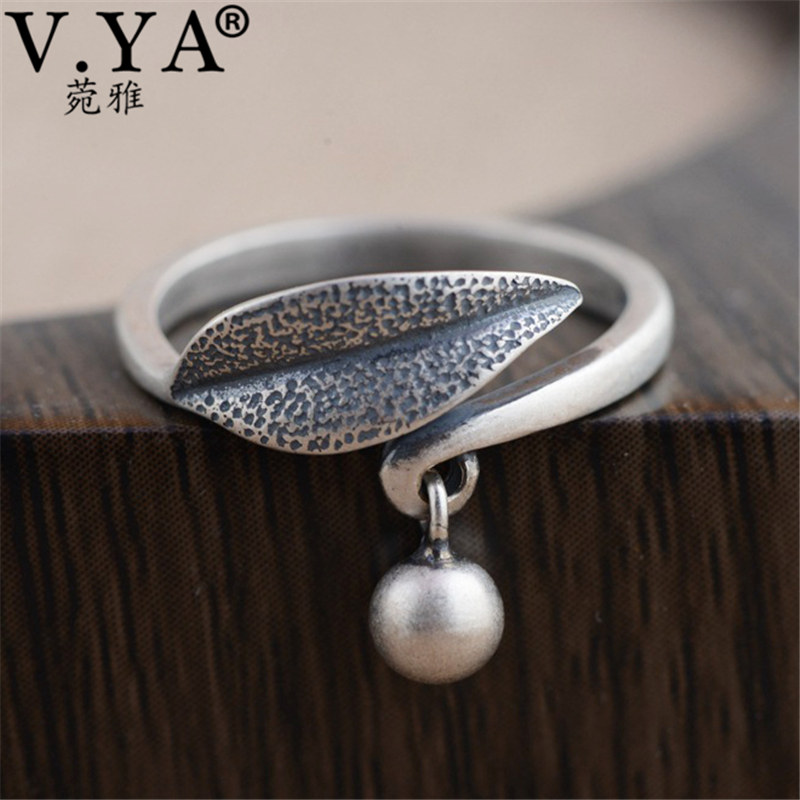 V.YA 2018 Vintage Thai Silver Leaf Leaves Ring 925 Sterling Silver Jewelry Women's Ring Adjustable Size Drop Shipping
