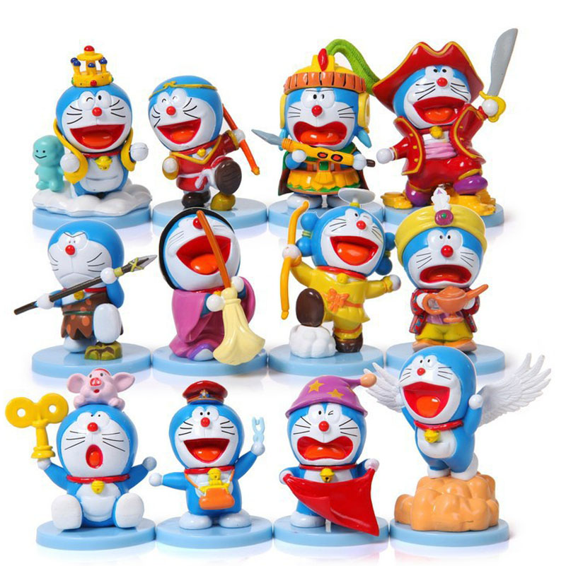 Free Shipping 12pcs Cute Mini Doraemon Anime 35th Anniversary Bag Pack 6cm PVC Action Figure Collection Model Doll Toy Gift