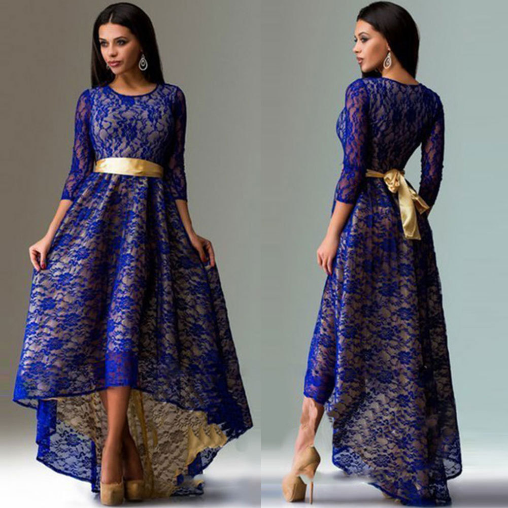 New Women dress Lace Slim <font><b>Ebay</b></font> Asymmetrical Hem Dovetail Sexy Dresses Sky Red Black Dark Blue 3312 image