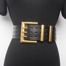 Женская подиумная Мода из натуральной кожи золотые широкие пояса с пряжкой женское платье Корсеты пояс с пряжкой Украшение широкий пояс R1520