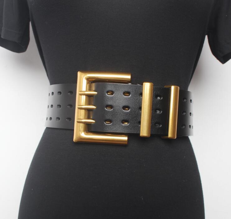 Women's Runway Fashion Genuine Leather Gold Buckle Cummerbunds Female Dress Corsets Waistband Belts Decoration Wide Belt R1520