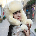 Warm Woman Russian Outdoor Fur Bomber Hats For Women New Knitted Ski Hat Ear Protection Winter Hats Cap Caps Earflap