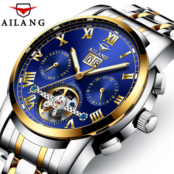 AILANG Tourbillon Mechanical Watch Mens Skeleton Gold Calendar Automatic Watch Men Stainless Steel Waterproof Mecanique Relogio