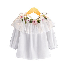 DFXD 2017 Spring Summer Baby Girl White Long Sleeve Off Shoulder Cotton Blouse Flower Embroidery Girls Tops Kids Clothes 2-8T