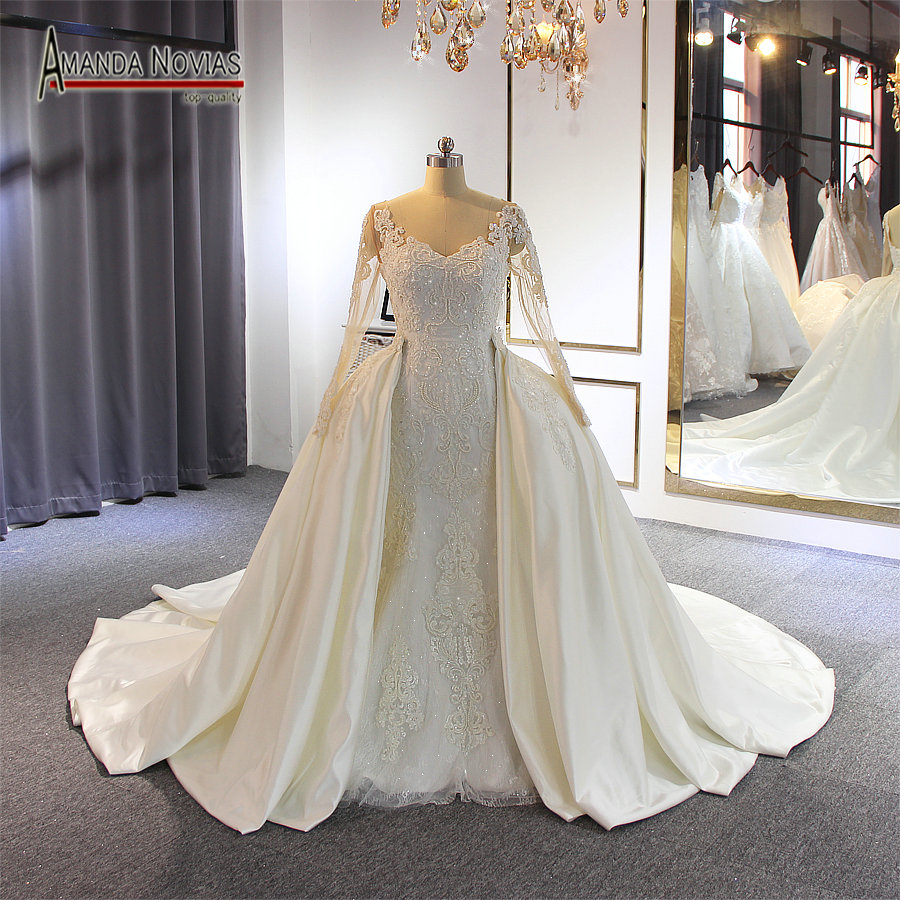 Image 2 - Elegant New Model Long Sleeve Lace Mermaid Wedding Dresses With Removable Train 2020Wedding Dresses   -