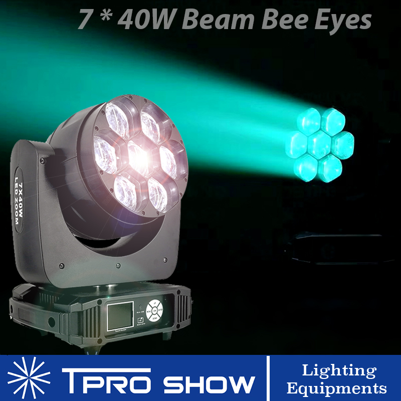 7x40W Moving Head Stage Lighting Effect RGBW LED Beam Wash Zoom Bee Eye Movinghead 280W Mobile Heads Beam Lyre Lights For Disco