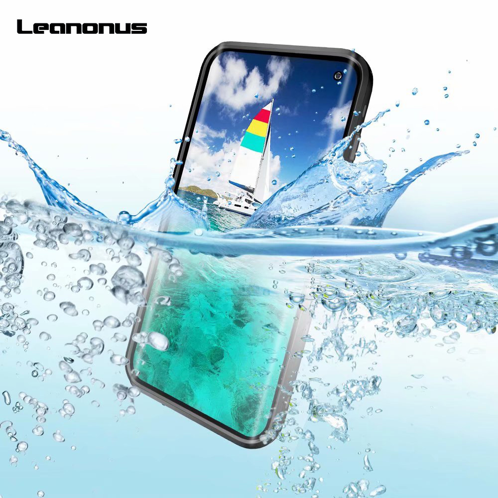 Leanonus Waterproof Case For Samsung Galaxy S10 S10 Plus Cover Clear PC+Silicon Diving Phone Case Shockproof Outdoor Coque Capa iPhone XS
