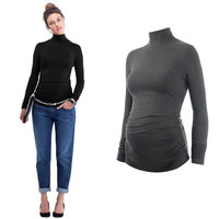 MAGGIE'S WALKER Maternity Clothes Turtleneck Pregnancy Women Tees Long Sleeved T Shirts Pregnant Casual Clothes Tops