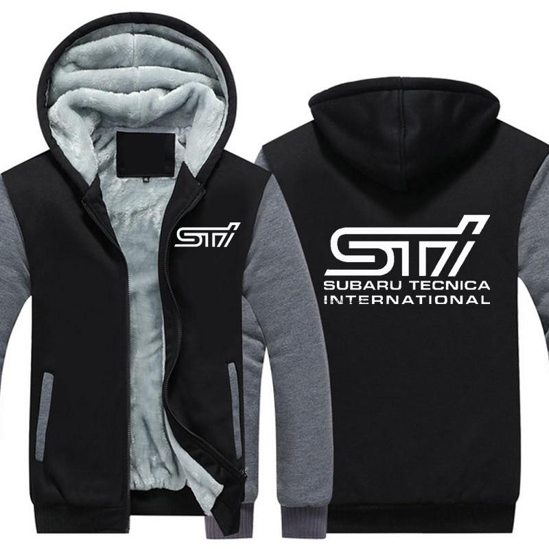 Otoño invierno abrigo del coche Subaru Sti Logo engrosamiento caliente sudaderas de algodón capa ocasional Fleece sudaderas hombres Hoodies