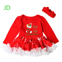 The Spring and Autumn Red Girls Christmas Stocking Pattern Dress Lace Puff Romper Dress Christmas Show Girls Dress