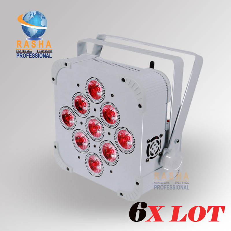 6X Lot Rasha Brand High Brightness 9*10W 4in1 RGBW/RGBA Battery Powered Wireless LED Flat Par Light Disco Par Can 110-240V