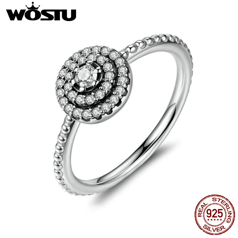 100% Real 925 Sterling Silver Radiant Elegance Rings With Sparkling Clear CZ For Women Original Pan Ring Jewelry FB7178