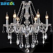 ZESOL 6 Lights Vintage Rustic Crystal Candle Chandelier Lighting Pendant Lamp Hanging Light for Hotel Lighting