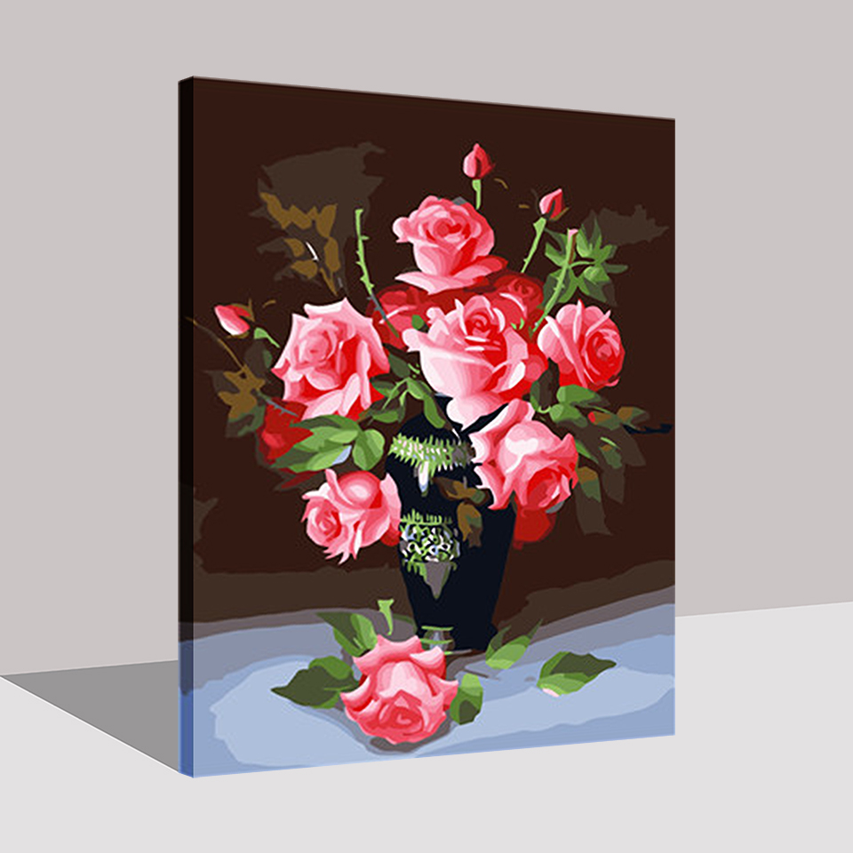 Pink Flower Arrangement Diy Painting By Numbers Kits Coloring Hand