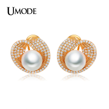 UMODE Luxury Fashion Jewelry For Women Gold Plated 10mm Shell Powder Synthetic Pear Stud Earrings Femel Accessories AUE0189A