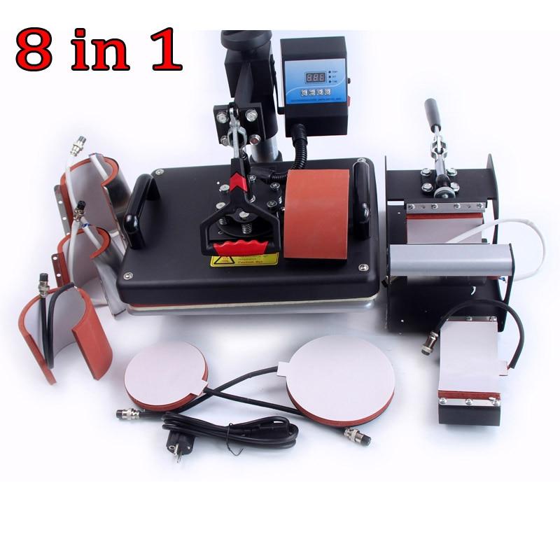 Hot selling 8 In 1 Combo Heat Press Machine Plate Mug Cap T-Shirt Heat Press Heat Transfer Machine Sublimation machine