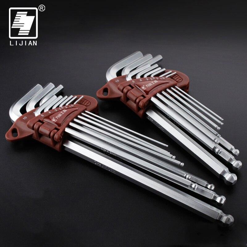 LIJIAN 9 sztuk 1.5mm 10mm sześciokątne Allen klucz imbusowy narzędzia zestaw imbus matowy chrom Ball End Spanner zestaw śrubokrętów zestaw narzędzi w Klucze od Narzędzia na