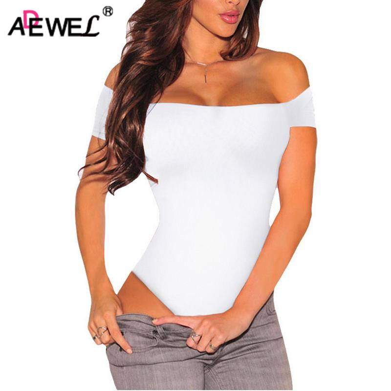 ADEWEL Sexy Short Sleeve Off Shoulder Stretchy Bodysuit Women Bodycon Top Slash Neck Bodysuits Overalls Romper Body Feminino