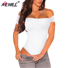 ADEWEL Sexy Short Sleeve Off Shoulder Stretchy Bodysuit Women Bodycon