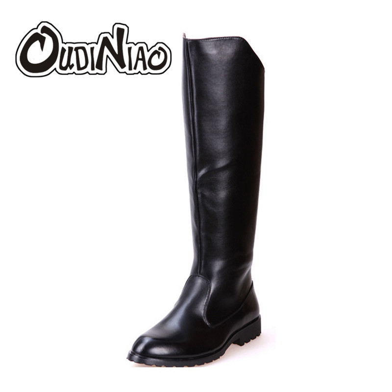 OUDINIAO Boots Men British Military Army Honour Guard Motorcycle Riding Equestrian Mens Boots Knee High Casual Zipper Cowboy
