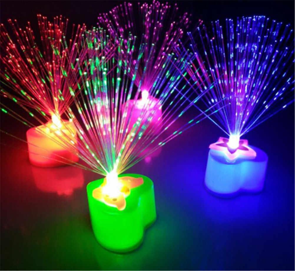1 pieza de luz nocturna de fibra óptica LED cambiante, lámpara de juguete alimentada por batería, pequeña Luz de Navidad, decoración romántica, Color