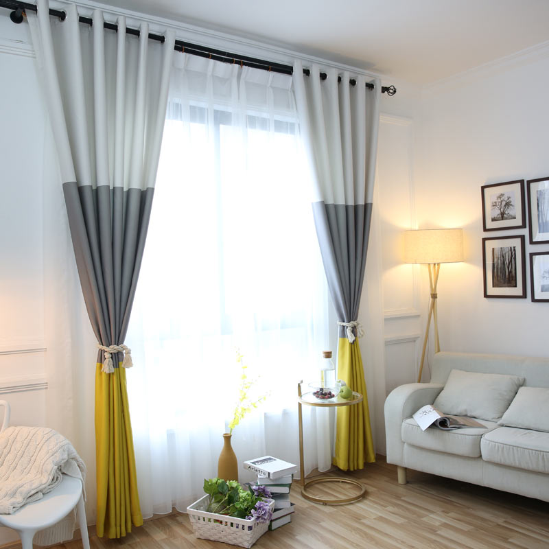 3 Colors Striped Blackout Curtains for the Bedroom Cotton Linen Modern Curtains for Living Room ...