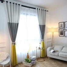 3 renk çizgili karartma perdeleri yatak odası için pamuk keten Modern perdeler oturma odası için pencere perde jaluzi