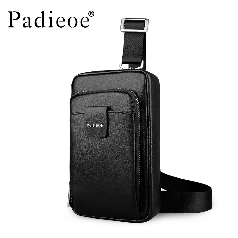 Padieoe Unisex Fashion Men and Women Messenger Bags Crossbody Shoulder Chest Bags Packs Genuine Leather Black men Shoulder Bag
