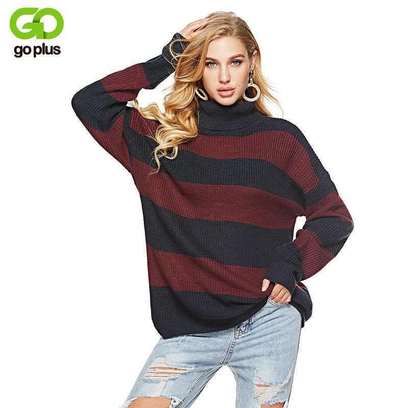 2eeb47b7e30 GOPLUS полосатый вязаный длинный свитер Для женщин Водолазка с длинным  рукавом пуловер свободного кроя 2019 Зимняя