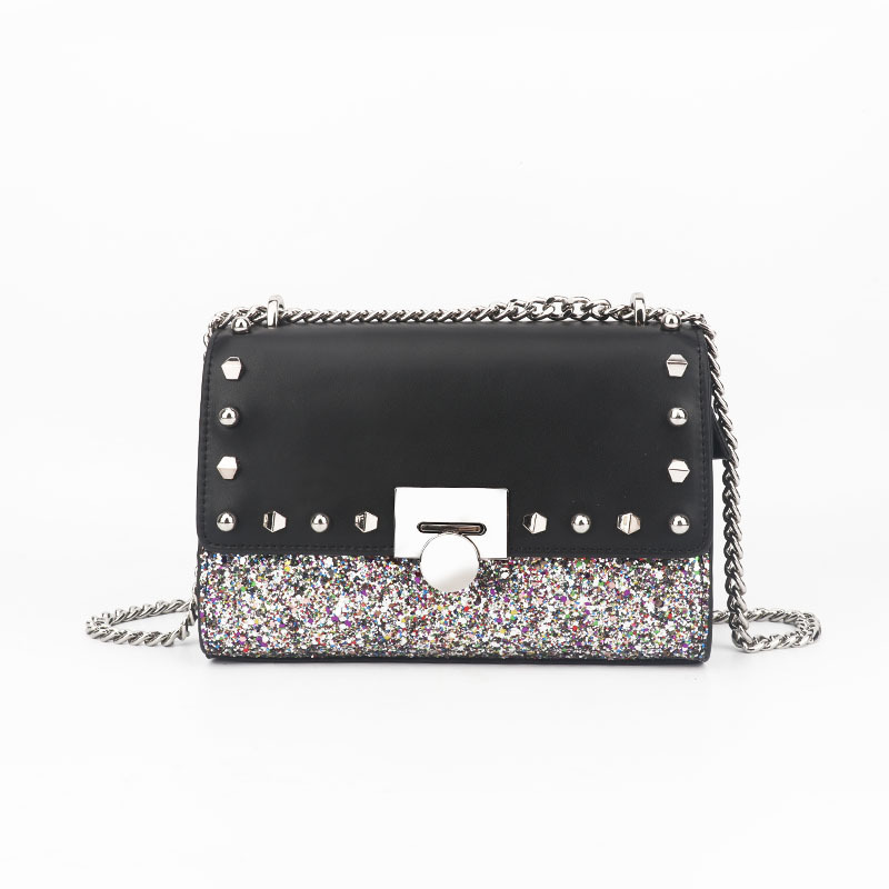 Elegant small fresh Leather luxury handbags women bags designer Lock sequins chain decorative shoulder Messenger bag цена 2017