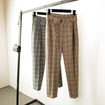 JUJULAND Women's trousers Checked harem pants office lady style High-waist ankle-length pants casual  High-grade fabrics 633 lettering waist checked dolphin shorts