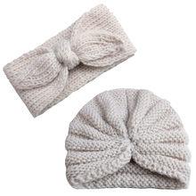 Вязаная шапка-тюрбан для новорожденных мальчиков и девочек, шапка головной убор, комплекты шапок, аксессуары для волос для малышей