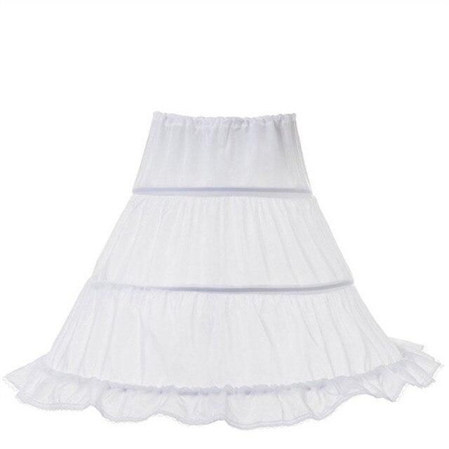 Một Kích Thước Trắng Lót Đàn Hồi Eo Dây Rút cho Trẻ Em Cô Gái Váy Hoa Với Công Chúa 3 Hoops Váy Lót Công Chúa Mặc