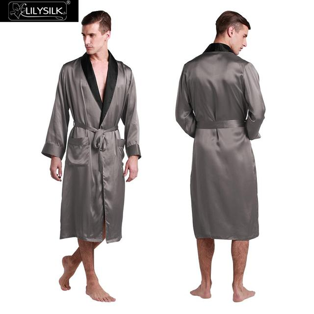 Lilysilk Silk Robe For Men 22 momme Bathrobe Dressing Gown Male Sexy Long Japanese Kimono Dark Grey Lounge Homewear Winter