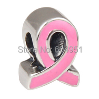 Enamel Pink Ribbon Charm Sterling Silver Breast Cancer Awareness Bead Fit Pandora Style Bracelets Troll Necklaces