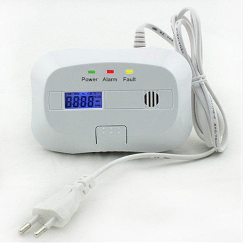 EU 85dB Standalone LPG Natural Gas Detector Combustible Leak Detector Alarm System for Home Security With LCD