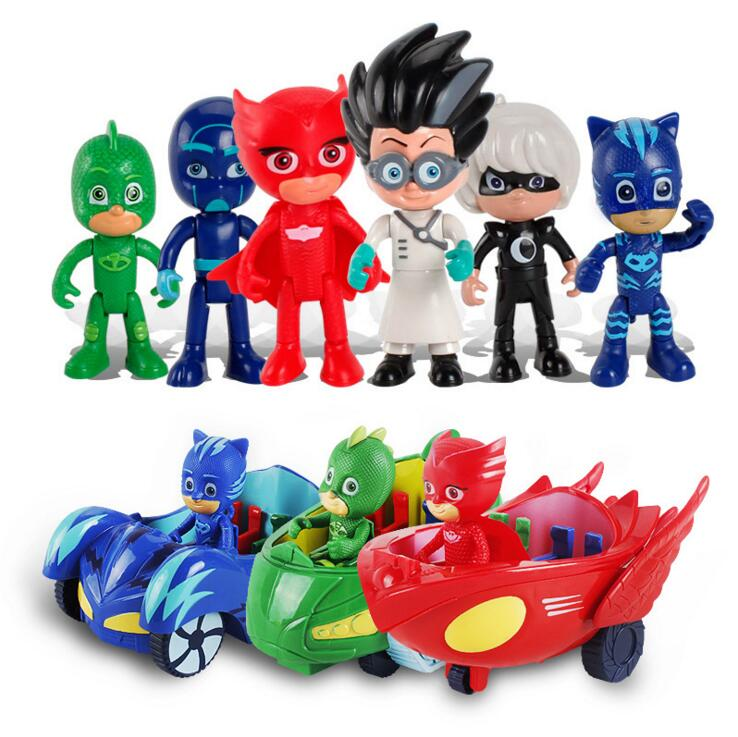 3PCS/Lot PJ Figure Pjmasks Juguete Brinquedo Connor Catboy Catcar Owlette Owl Glider Gekko Gekko-mobile Car Toys For Kids Gifts pj cartoon pj masks command center car parking toy lot car characters catboy owlette gekko masked figure toys kids party gift