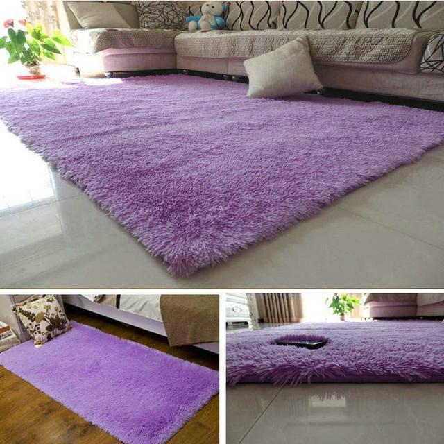 fluffy rugs anti skiding shaggy area rug dining room carpet floor mats purple shaggy rugs - Dining Room Floor Mat