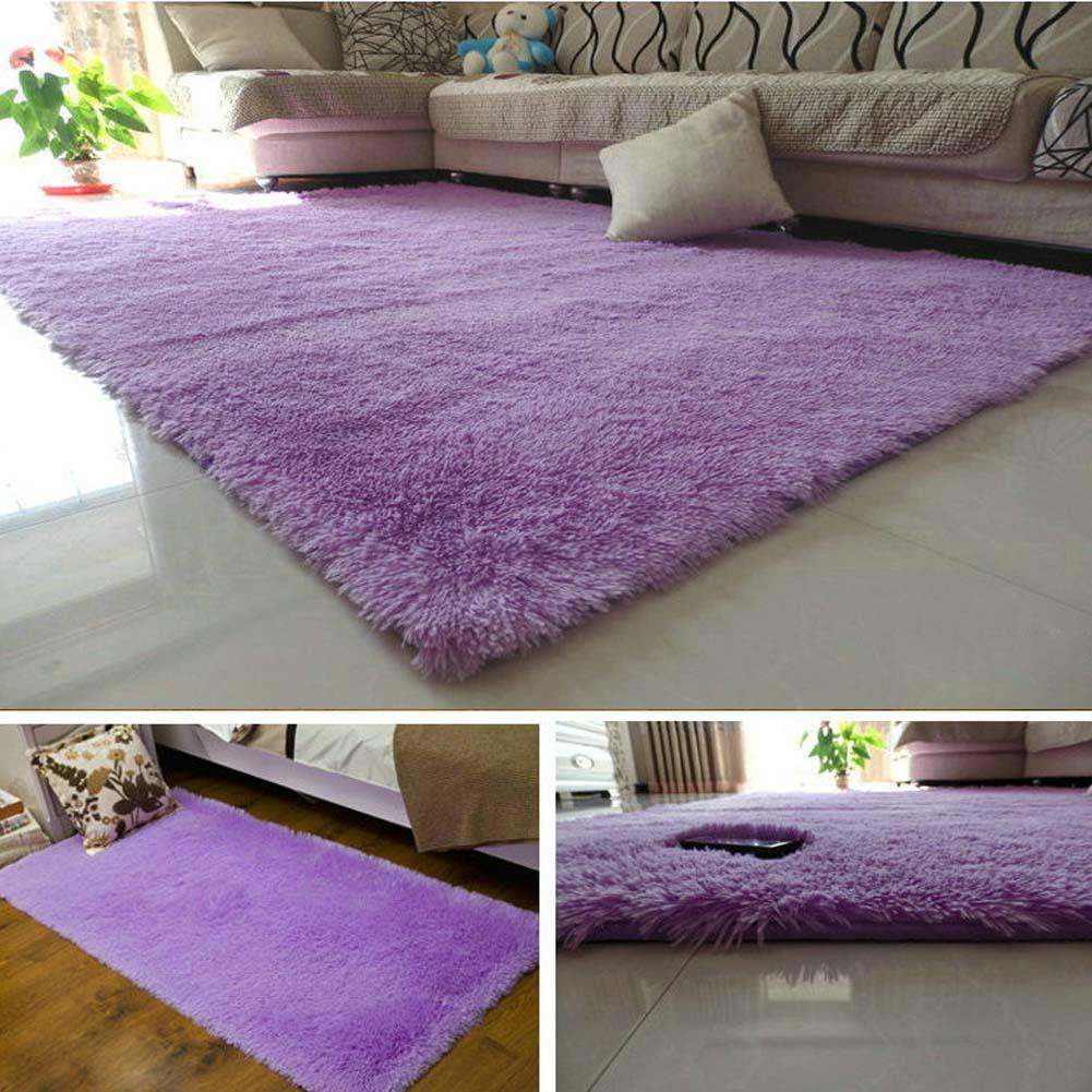 Fluffy Rugs Anti Skiding Shaggy Area Rug Dining Room Carpet Floor Mats Purple