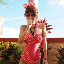 Vintage Polka Dot One Piece Suits Cute Swimsuit For Grils Swimwear Women Bra Padded Bodysuit Bathing Suit Swimming Suit M6702