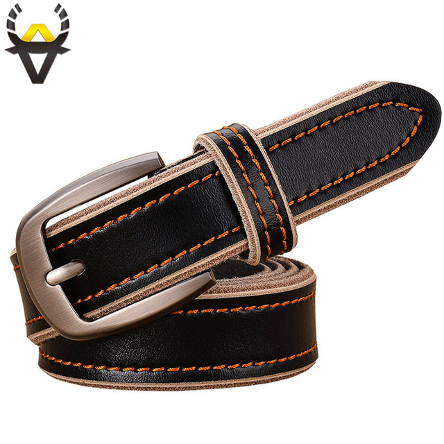 2017 Casual women belts Genuine leather belt woman 2.8CM wide high quality Second layer cowskin vintage stitching strap female